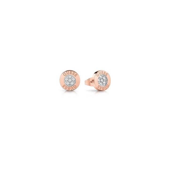 Guess Rose Gold Plated Button Crystal Stud Earrings Was £29.00