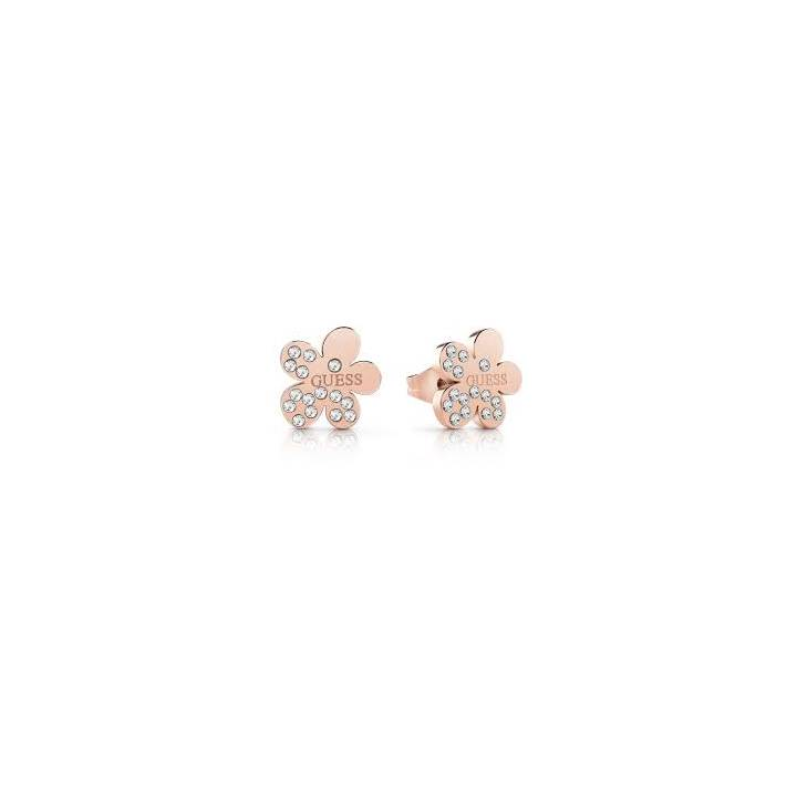Guess Rose Gold Plated Crystal Flower Stud Earrings Was £29.00
