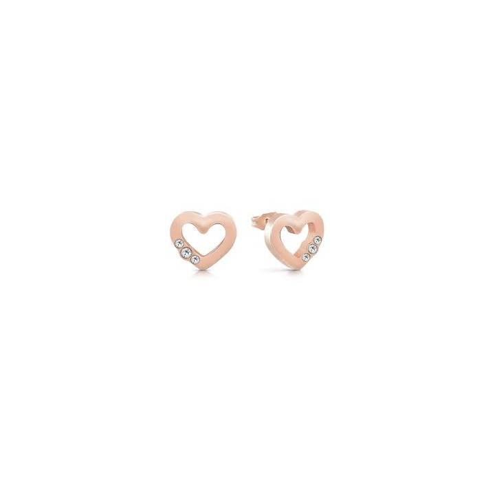 Guess Rose Gold Plated Open Heart Stud Earrings Was £29.00