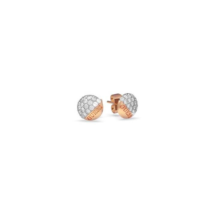 Guess Rose Gold Plated Embrace Crystal Button Earrings Was £39
