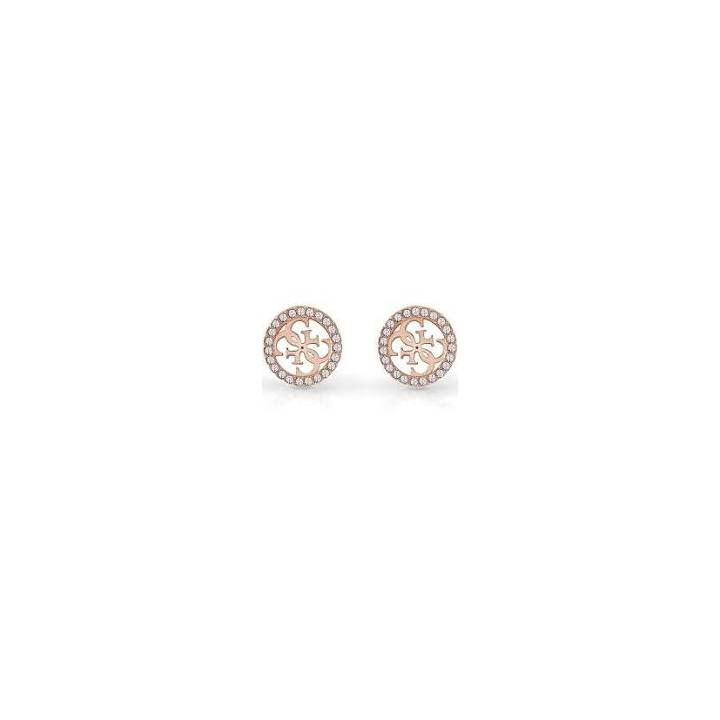 Guess Rose Gold Plated Crystal Logo Stud Earrings Was £39.00